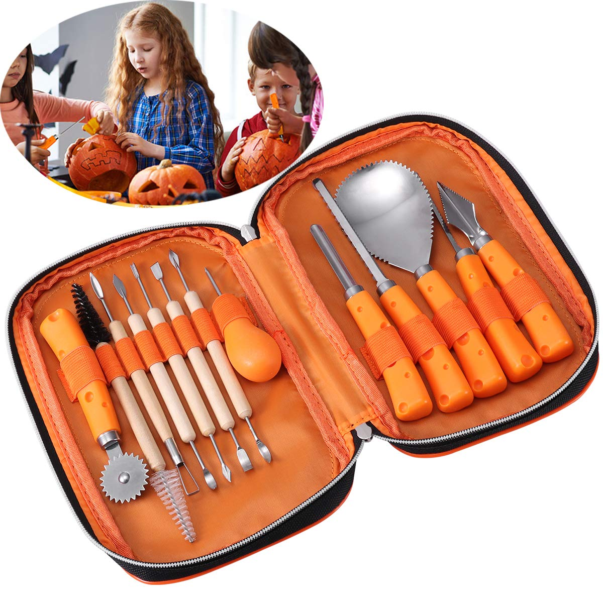 iBaseToy Halloween Pumpkin Carving Tools Kit, 13 Pieces Professional Pumpkin Carving Kit Includes Wooden Sculpture Knife, Easily Carve Jack-O-Lantern (with Storage Bag) by iBaseToy