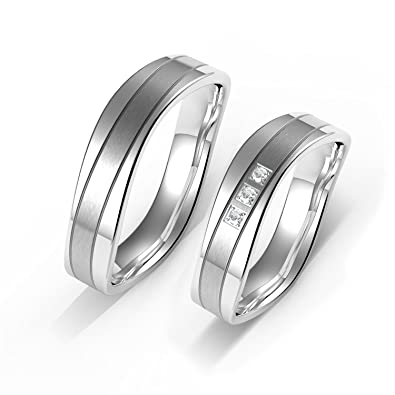 Amtier Stainless Steel Engraving Wedding Engagement Rings 5mm for Men Women ZWSyMuxX