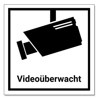 Videouberwachung Aufkleber Schild 7 5x7 5cm Schwarz Weiss Achtung