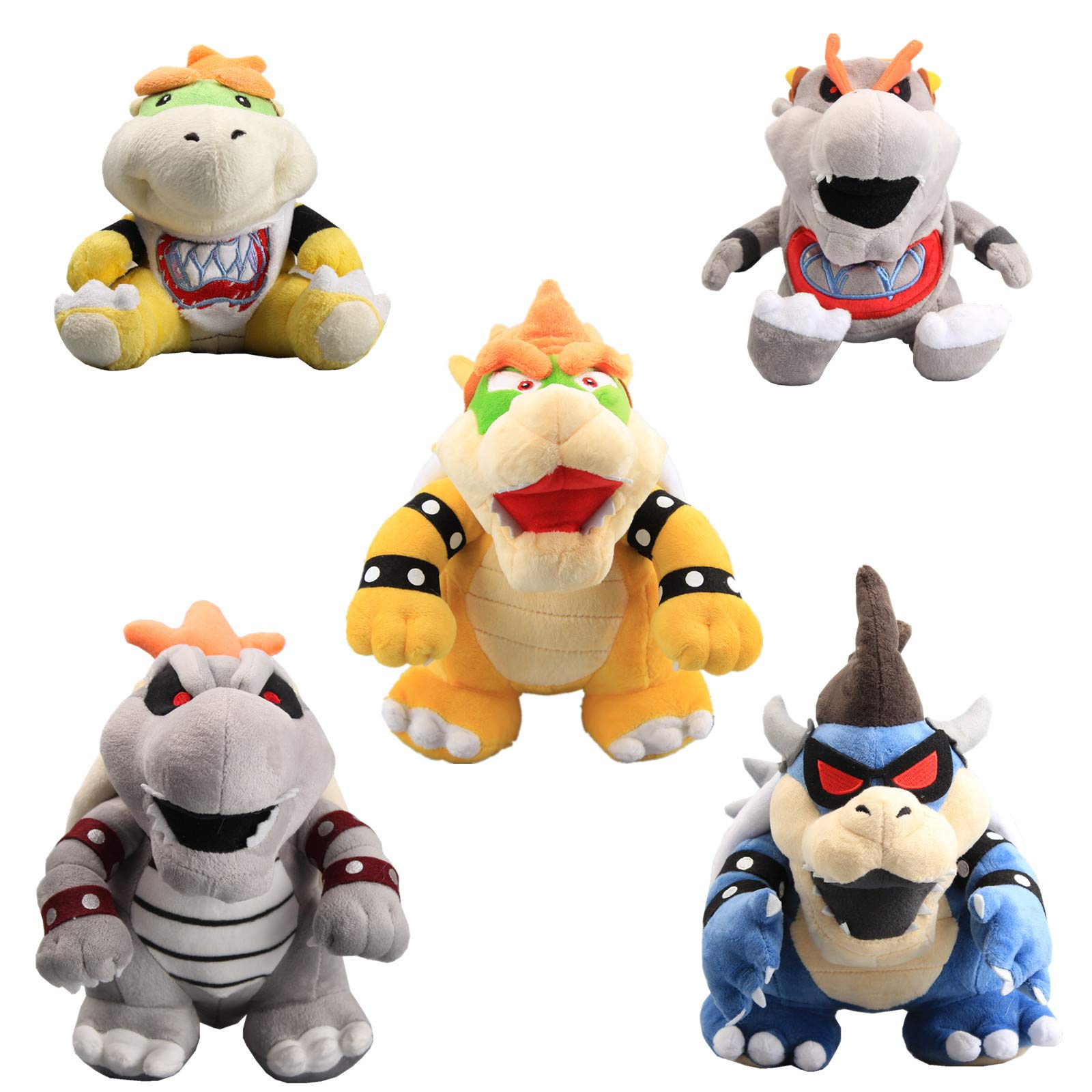 uiuoutoy Super Mario Bros. King Bowser & Dry Bowser & Dark Bowser & Bowser Jr & Dry Bowser Jr Plush 10'' Set of 5 pcs by uiuoutoy