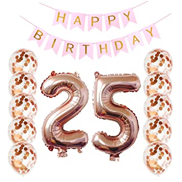 Ezeso Birthday Decorations Happy Banner 10 Pieces 12 Inch Rose Gold Confetti Dots Balloons