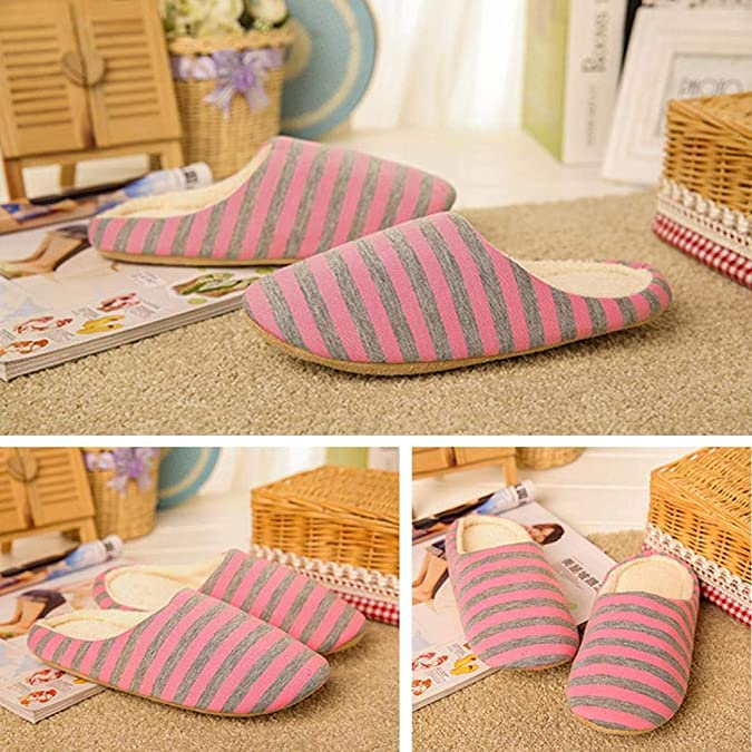 Jaikit Women Men Striped Warm Non Slip Floor Home Slippers Indoor Bedroom Shoes