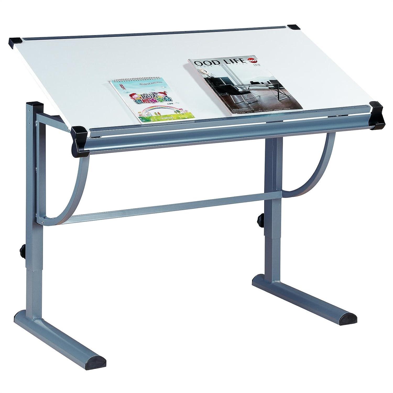 IDIMEX Kinderschreibtisch Schülerschreibtisch Conny höhenverstellbar und neigungsverstellbar, Metallgestell grau lackiert, Tischplatte in weiß