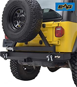 Amazon.com: EAG Classic Rear Bumper with Tire Carrier and Hitch Receiver  Fit for 87-06 Wrangler TJ YJ: Automotive | White Jeep Sahara Lifted With Tire Carrier And Led Tail Lights |  | Amazon.com