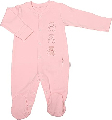 Sevira Kids - Pijama bebé de algodón orgánico, BASIC rosa rosa Talla:1-3M - 56CM: Amazon.es: Bebé