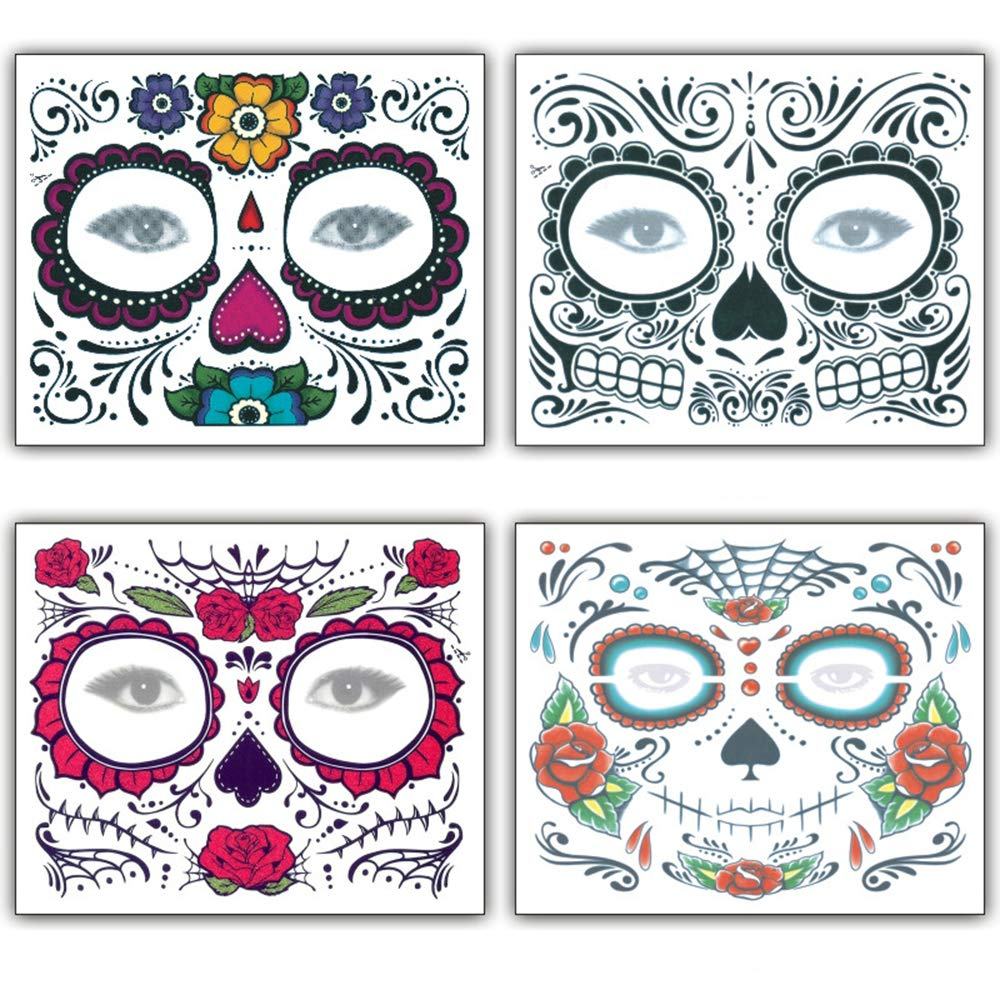 Halloween Face Tattoo Stickers Day of the Dead Tattoos Sugar Skull Water Transfer Stickers with Floral Red Rose Black Web Fake Face Mask Temporary Tattoo for Halloween Parties, Masquerade 4 PCS