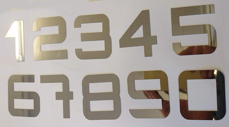 T/ürnummern Hausnumern 0-9 Zahlen aus Edelstahl w/ählbar im modernen Stil 2