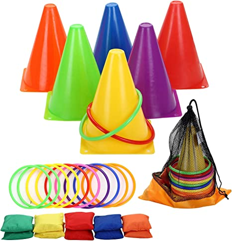 Traffic Cone Ring Toss Game Carnival Game Outdoor Birthday Party Games for Kids