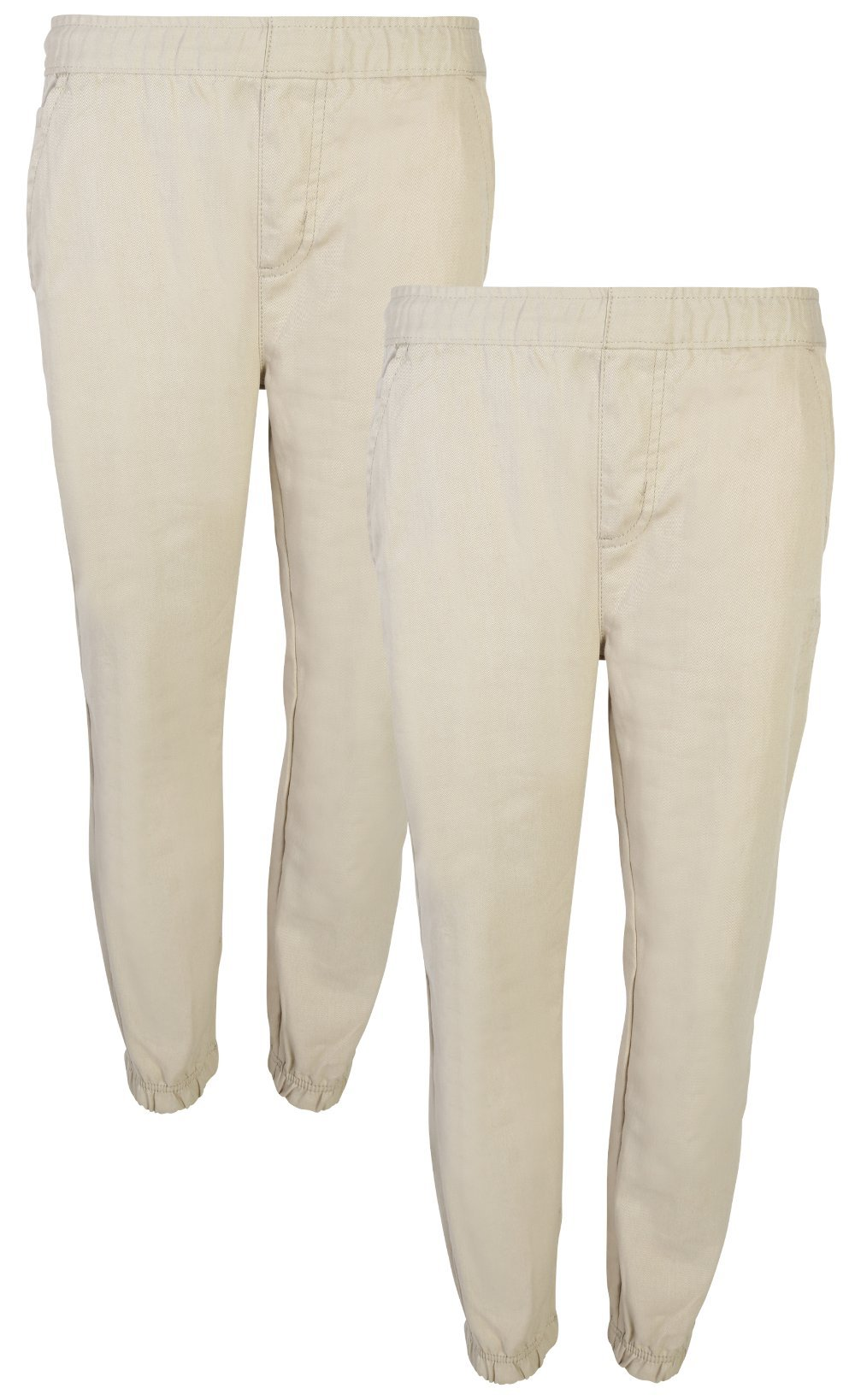 Beverly Hills Polo Club Boys School Uniform 2 Pack Twill Pull-On Jogger Pant with Adjustable Waist, Khaki, 14' by Beverly Hills Polo Club (Image #1)