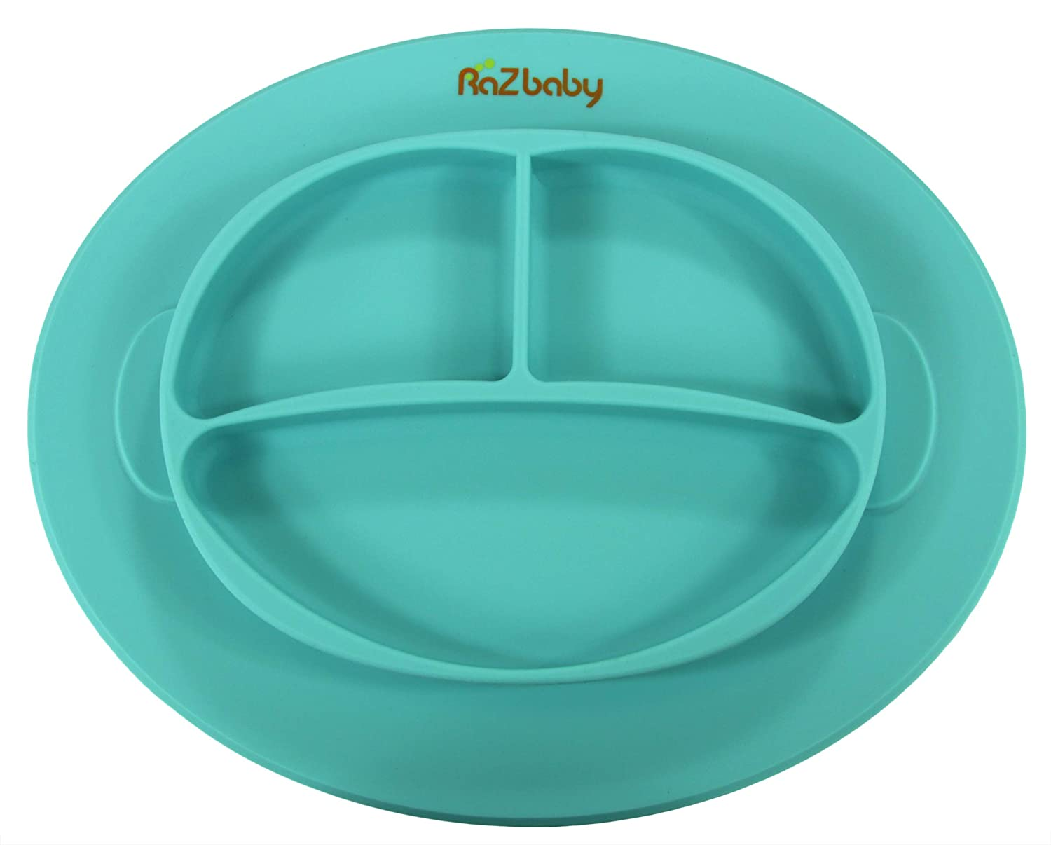 RaZbaby RaZ-Plate Silicone Suction Baby Plate First Foods Blue Perfect for Led Weaning Built-in Place-Mat for Infants Babys First Plate Stays in Place Less Mess Self-Feeding Toddlers