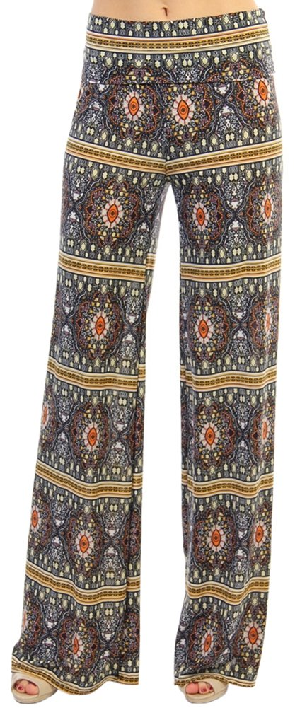 ToBeInStyle Women's Special Print Palazzo Pants - Stained Glass - Multicolor - M