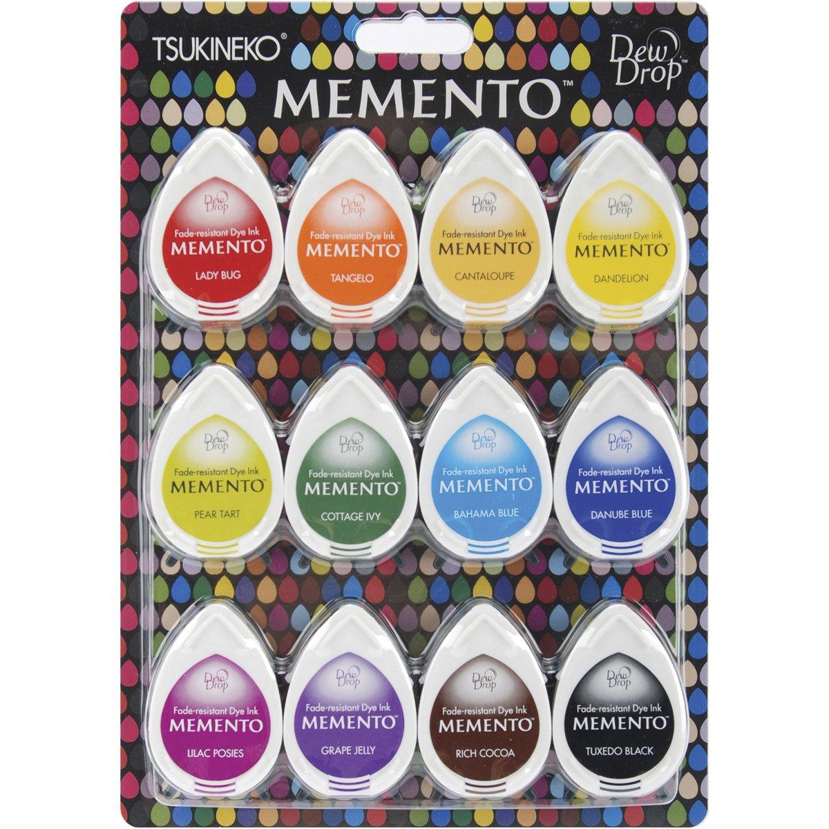 Tsukineko MD-012-100 12-Piece Assortment Memento Dew Drops Fade-Resistant, Gum Drops