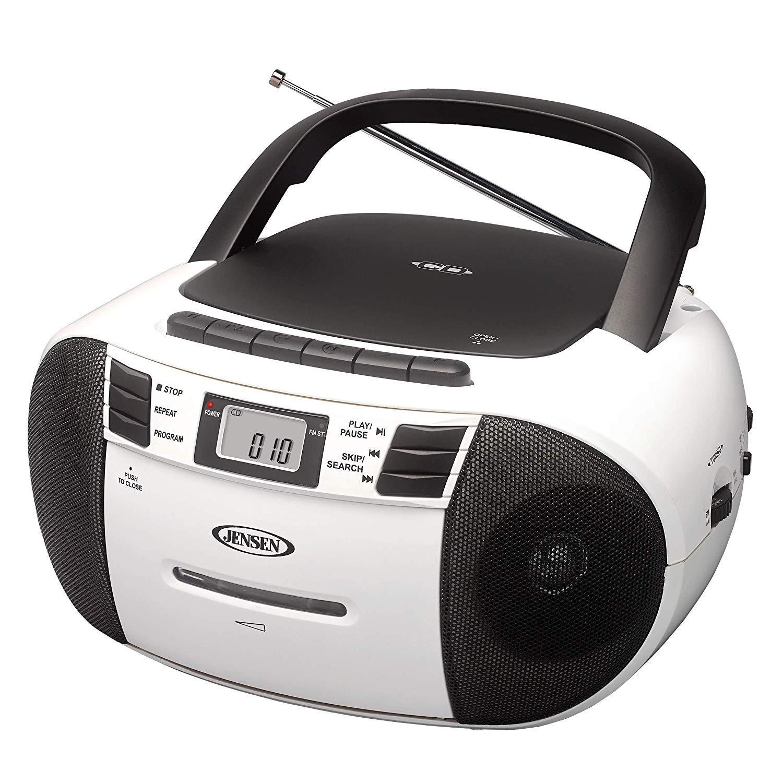 Jensen CD-545MP3 Black/White Top-Loading CD/MP3 AM/FM Radio Cassette Player, and Recorder Boombox Home Audio, Aux, Headphone (Black/Matte White) by Jensen (Image #6)