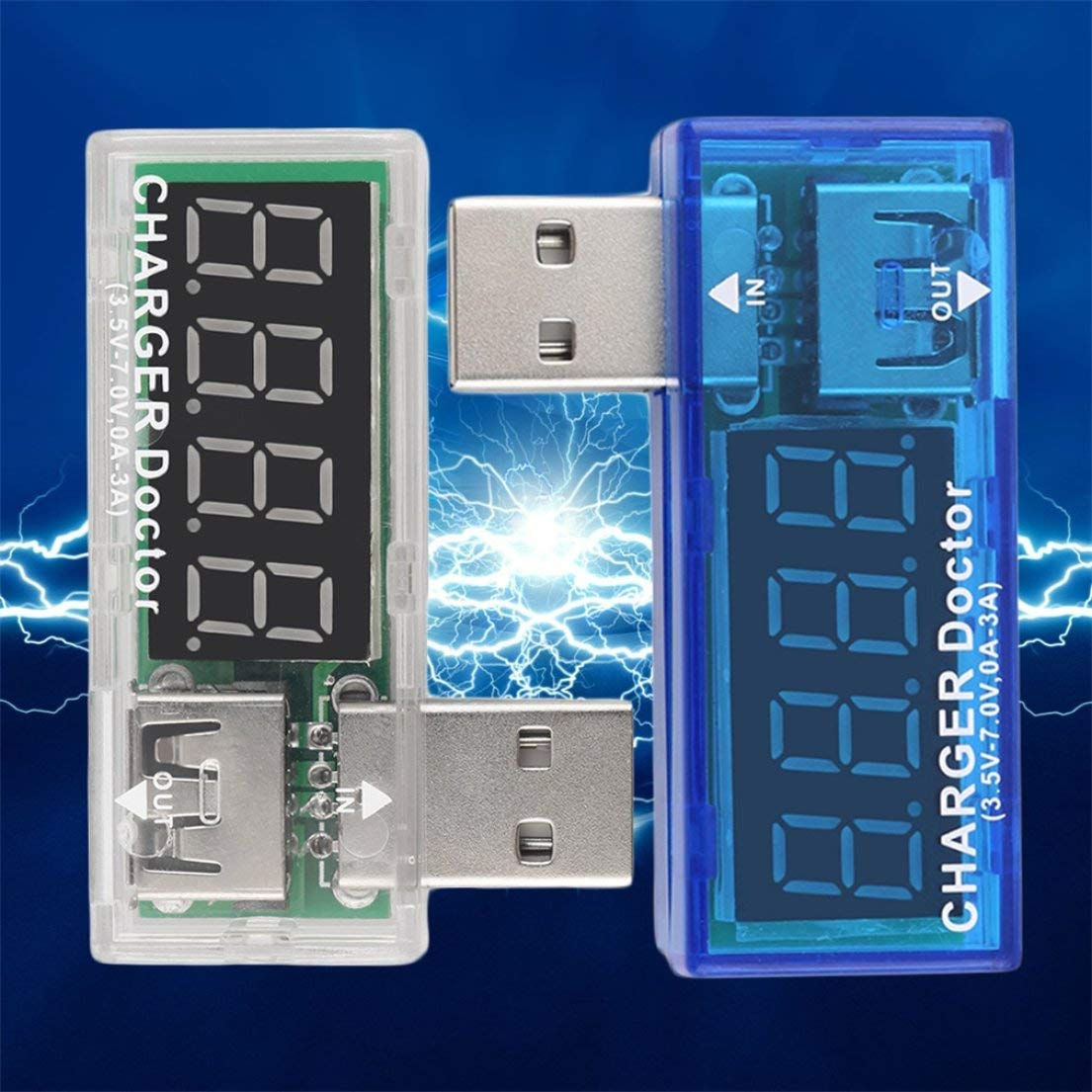 DFHJSXDFRGHXFGH-ES F/ácil y Conveniente Cargador USB Doctor Mobile Battery Tester Detector de Potencia Voltaje Medidor de Corriente 3.5-7.0V 0-3A