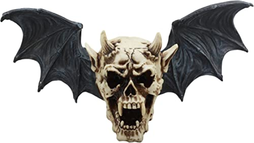 Ebros Large Horned Demon Vampire Skull With Bat Wings Wall Decor 16 Wide 3D Wall Plaque Figurine Decor