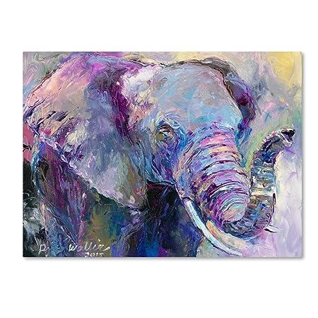 Blue Elephant by Richard Wallich, 24×32-Inch Canvas Wall Art