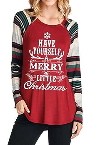 amazoncom dutut have yourself a merry little christmas printed t shirt women striped patchwork raglan tops blouse clothing