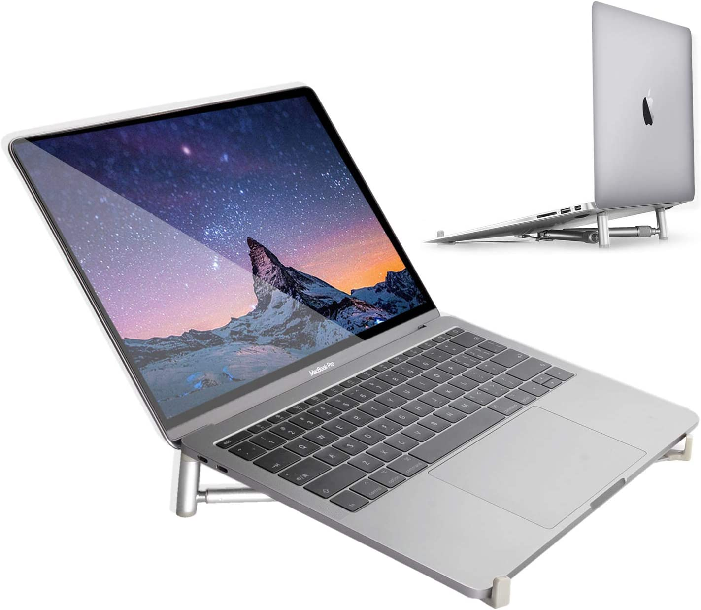 """Laptop Desktop Stand, MacBook Pro Adjustable Laptop Sand, INNOMAX Portable Cooking Stand Holder for MacBook Pro/Air, Dell XPS, HP, All Laptops from 11""""17""""-Silver"""