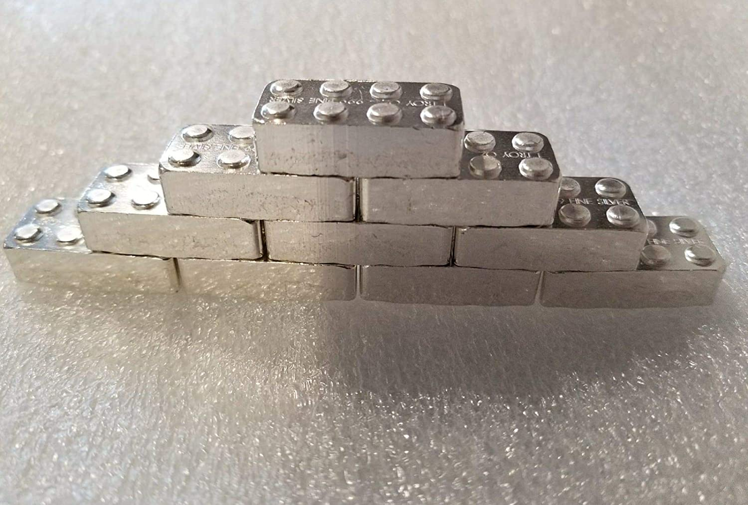 New Silver Building Block Bar 1//2 oz .999 Fine Solid Silver Art Hand Poured