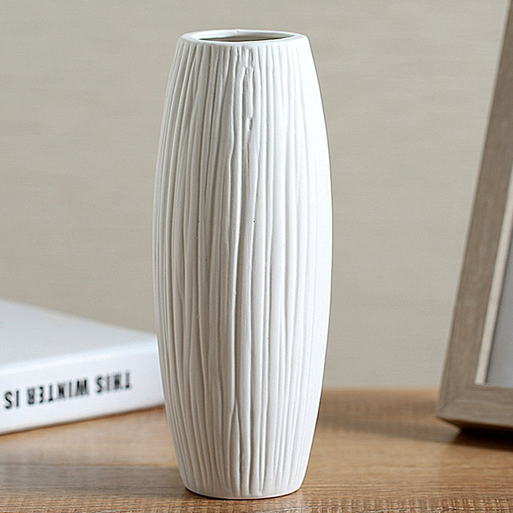 ANDING 8'' Pure White Modern Ceramic Vases - Oval - Waterfall Elegant Design - Ideal for Friends and, Weddings, Desktop Center Vase, Perfect Home Decoration Vase