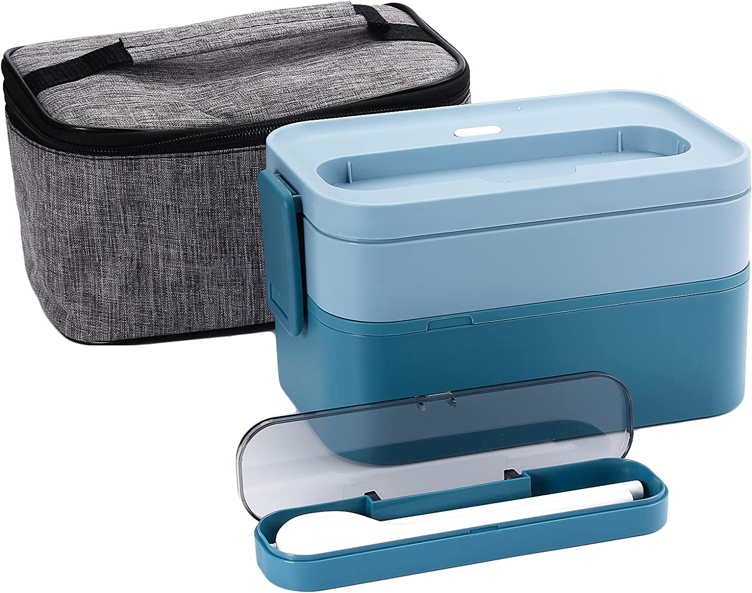 Bento Box For Adults,YFBXG Stackable Bento Lunch Container With Divider,Microwave Safe Leakproof Salad Lunch Container With Utensils & Lunch Bag(Blue)