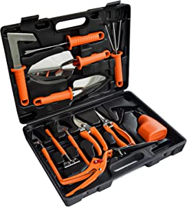 Gardening Tool Set 13 Pieces Stainless Steel Garden Tools with Portable Carrying Case, Hand Tools Gifts for Men and Women (Orange)