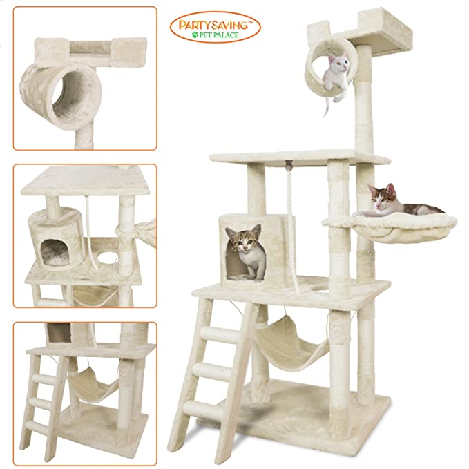 """Pet Palace Cat Tree Kitten Activity Tower Condo With Hammock, Deluxe Scratching Posts, And Rope, 65"""", Apl1354 by Partysaving"""