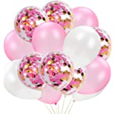 60Pcs Rose Gold and Gold Confetti Balloon Set 12Inch Pink Latex Party Balloons White Balloon for Wedding Birthday Graduation