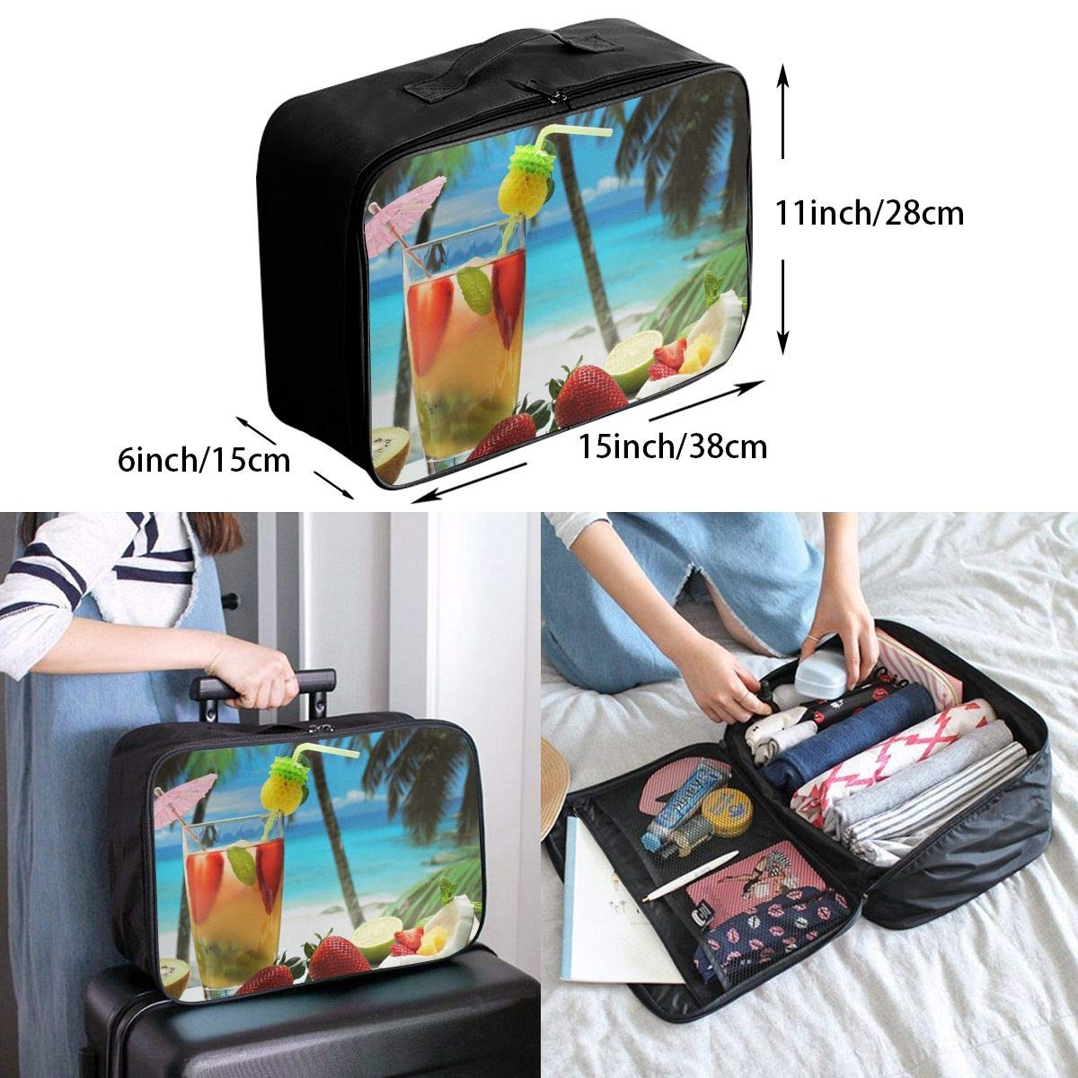 Travel Luggage Duffle Bag Lightweight Portable Handbag Fruity Cocktail Large Capacity Waterproof Foldable Storage Tote