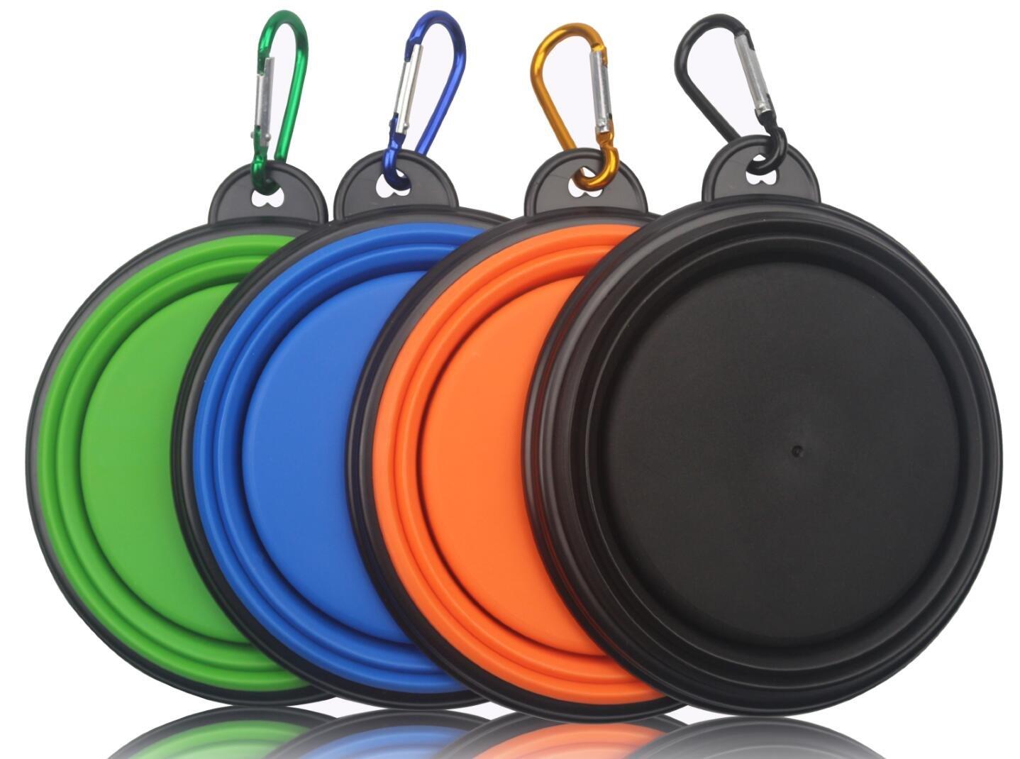 MIDWEC Gamelle de Voyage pliable en silicone pour Animal Domestique Chien Chat Eau Nourriture avec Mousqueton – Sans BPA (Noir Orange Bleu et Vert - Lot de 4)