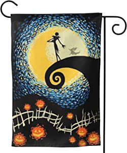 DZGlobal Nightmare Before Christmas Garden Flag 12x 18 Vertical Double Sided Yard Flag Winter Holiday Christmas Flag for Outdoors Double Sided Home Garden Decorative