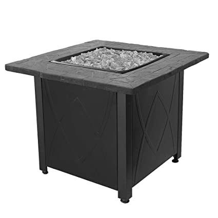 Blue Rhino Endless Summer Outdoor Propane Gas Lava Rock Patio Fireplace  Fire Pit