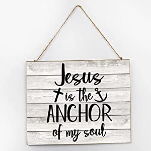 by Unbranded Rustic Wood Sign Wall Decor Home Signs Farmhouse Entryway Sign for Living Room Bedroom Kitchen Dining Room Jesus is The Anchor of My Soul,Christian,Quote 10x12 Inch