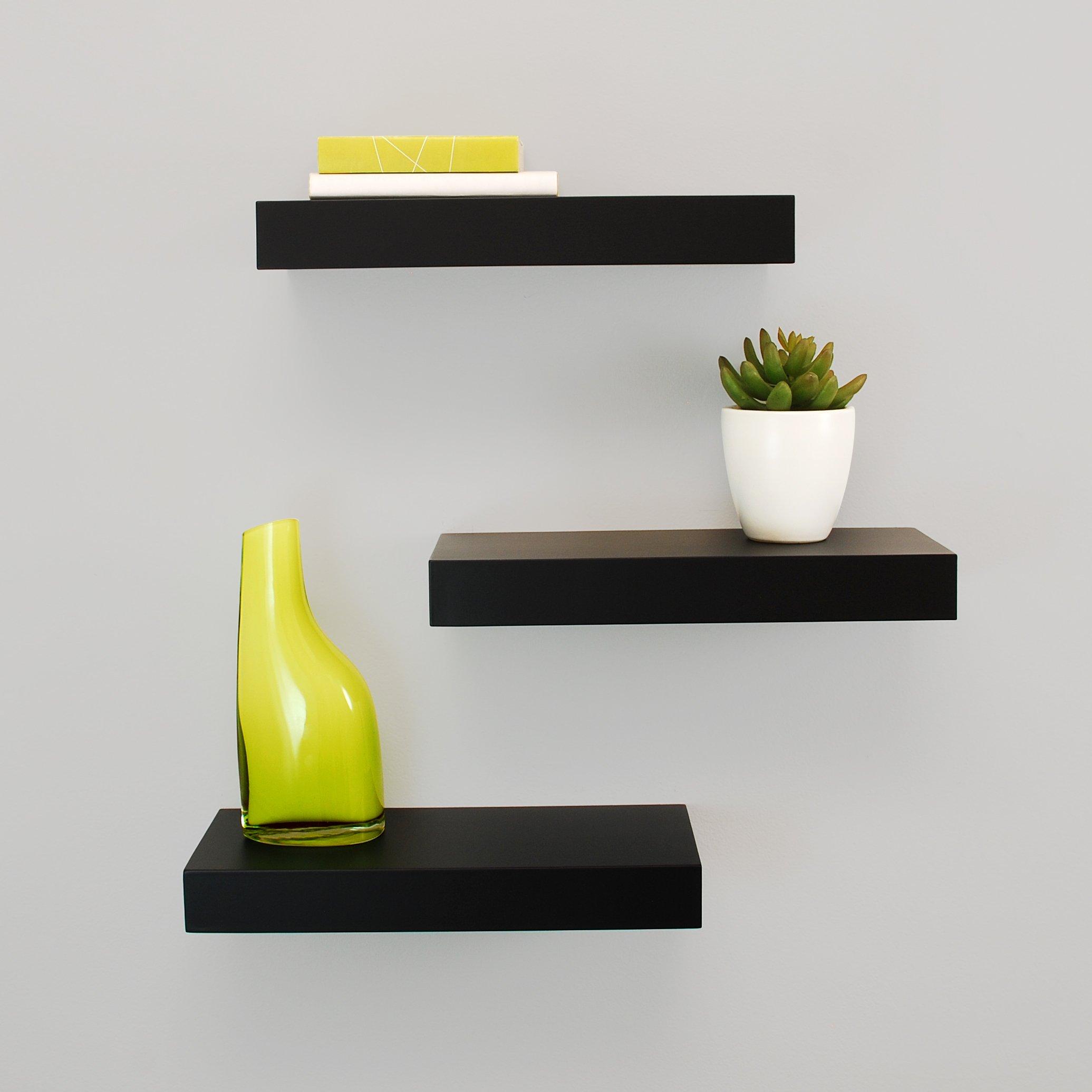 Kiera Grace Maine Wall Shelf, 12-Inch, Pack of 3, Black