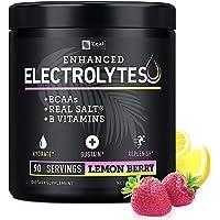 Electrolyte Powder w Real Salt +BCAAs +B-Vitamins (90 Servings | Lemon Berry) Sugar Free Electrolyte Supplement w…