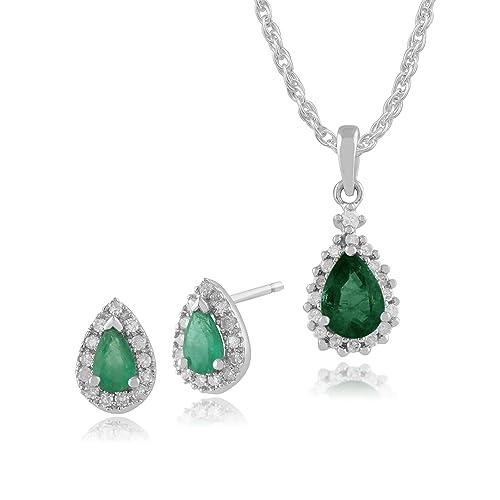 Gemondo 9ct oro blanco esmeralda y diamante racimo de pendientes del ...