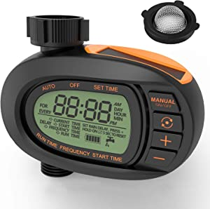 TACKLIFE Digital Water Timer, Solar Panels, Irrigation Sprinkler Controller, Precise Control of Water Volume, LCD Display Screen, Single-Valve, Super Easy to Set up and Program