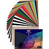 "JANDJPACKAGING Heat Transfer Vinyl HTV Bundle 10""x12"" - 25 Pack Assorted Colors HTV Vinyl, Iron On Vinyl for Cricut…"
