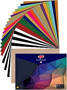 Heat Transfer Vinyl for T-Shirts 12x10 25 Multi-Color Sheets-Bonus Teflon Sheet Iron On Vinyl for DIY T-Shirts HTV Vinyl for Silhouette Cameo, Cricut or Heat Press, 25 Packs, Large