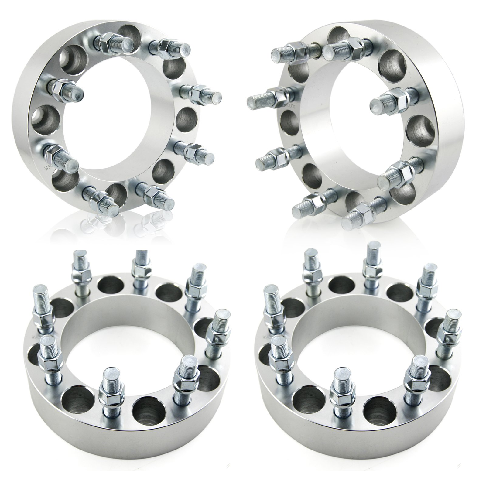 OrionMotorTech 8x6.5 Wheel Spacers 2'' with 9/16-18 Studs for 1994-2011 Dodge Ram 2500 3500, 1988-1998 Ford F-250 F-350, 4 Wheel Adapters 8x165.1