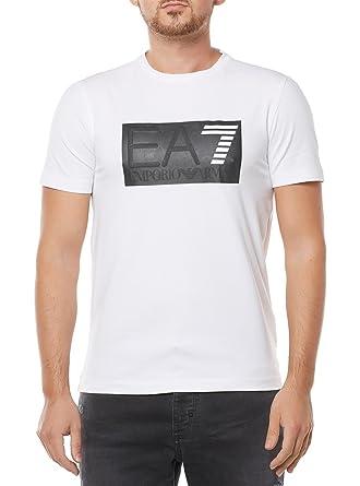 1b50d2a5 Emporio Armani EA7 men's short sleeve t-shirt crew neckline jumper white:  Amazon.co.uk: Clothing