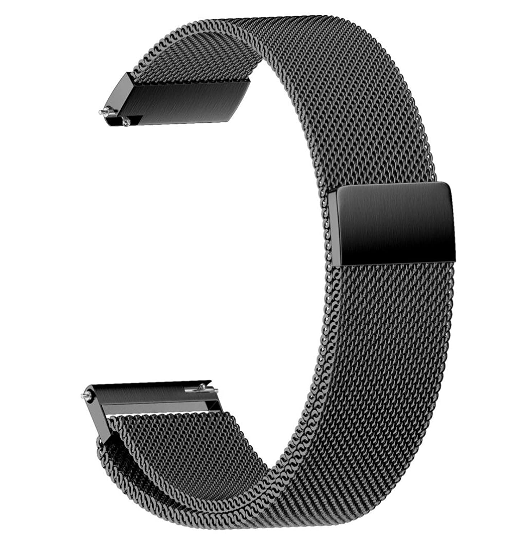 ホットセールsiviki Milanese磁気ループステンレススチール時計ストラップバンド22 / 20 / 18 / 16 / 14 mm 22 ブラック 22   B07C3C5B14
