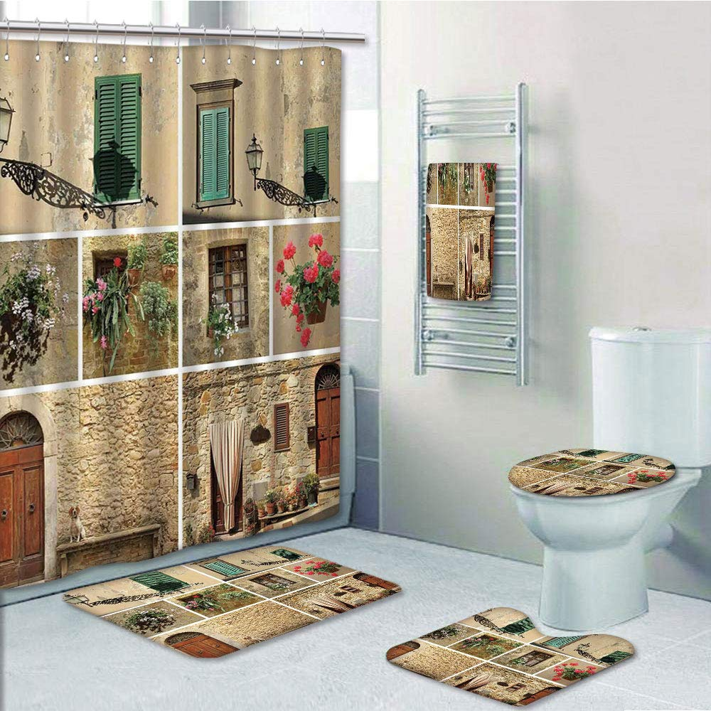 Bathroom 5 Piece Set shower curtain 3d print Multi Style,Tuscan Decor,Various Pictures of Italian Lifestyle with Old Classic Shutter Window and Stone Houses Print,Multi,Bath Mat,Bathroom Carpet Rug,No