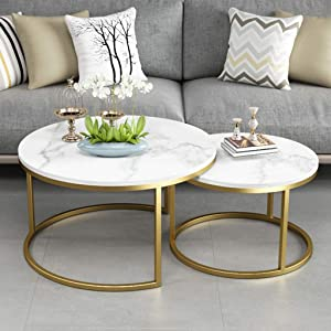 NMDCDH Home Décor Furniture Office Coffee Tables, 2-Piece Modern Stackable Nesting Accent End Table with Marble Top & Metal Base Living Room Furniture Lounge Set - Gold Living Room or Lou