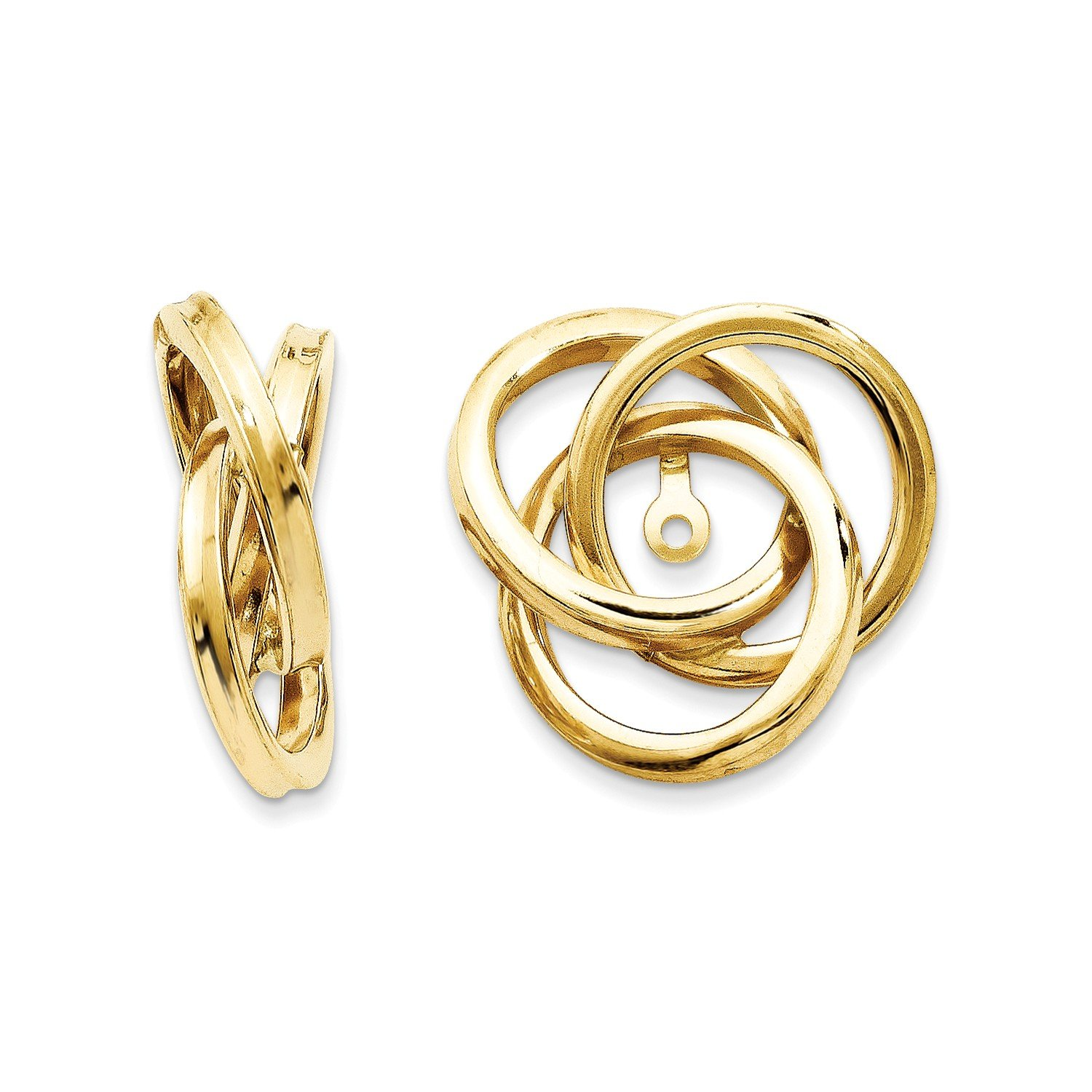Roy Rose Jewelry 14K Yellow Gold Polished Love Knot Earring Jackets 18mm length