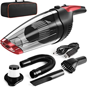 Solpuo Handheld Vacuum, Car Vacuum Cleaner, Powerful Suction Portable Vacuum Cleaner for Home and Car Cleaning, Lightweight Hand Wireless Vacuum Cleaner Powered by USB Quick Charge Tech - Red