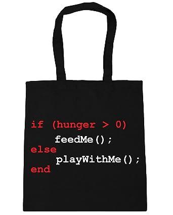 9debdf9c567 HippoWarehouse If hungry feed me programming Tote Shopping Gym Beach Bag  42cm x38cm
