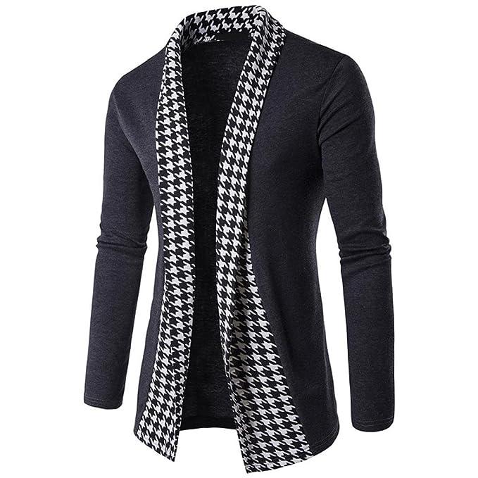 Hombres otoño Invierno Slim Fit Suéter de Cardigan Largo Trench Abrigo Chaqueta Tops by Venmo (