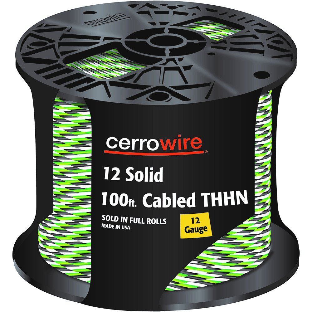 CERRO 112-161253C 100-Feet 12 Gauge Solid Cabled THHN Black, White and Green Wire, 100-Foot,