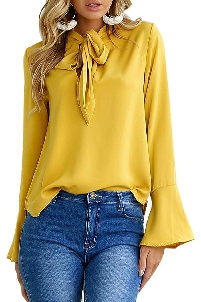 ... Lazo Blusas Tops Elegantes Hipster Modernas Casual Anchas Color Sólido Hermoso Camisa Oficina Casual Shirt Primavera Otoño: Amazon.es: Ropa y accesorios